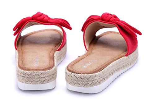 Schuhtempel24 Damen Schuhe Pantoletten Sandalen Sandaletten Flach Zierschleife Rot