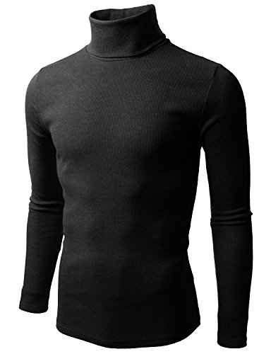 Doublju Mens Basic Long Sleeve Cotton Knit Turtleneck Sweater