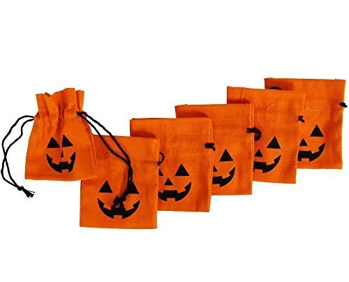 Dazzling Toys Halloween design 4 Inch Lantern Drawstring Canvas Bags (6 (Halloween Ideas For Adults Party)