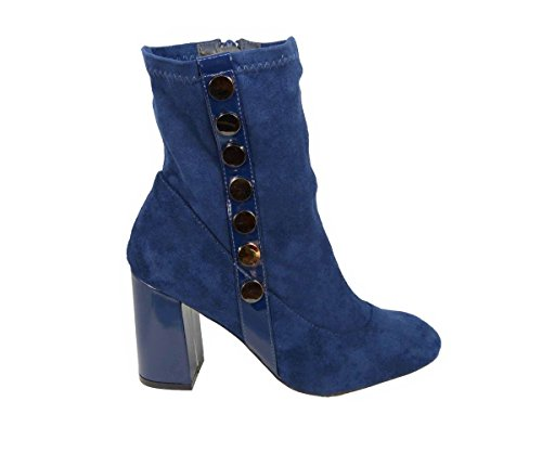 Womens Ladies Ankle High Boots Stud Faux Suede Zip Work Block Heel Chelsea Shoes Size Blue (S9775) Rd7BeL