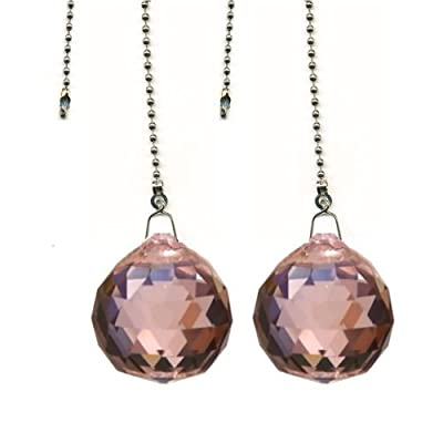 Magnificent crystal 40mm Pink Crystal Ball Prism 2 Pieces Dazzling Crystal Ceiling FAN Pull Chain