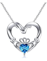 """925 Sterling Silver Celtic Love Claddagh Pendant Necklace, 18"""""""