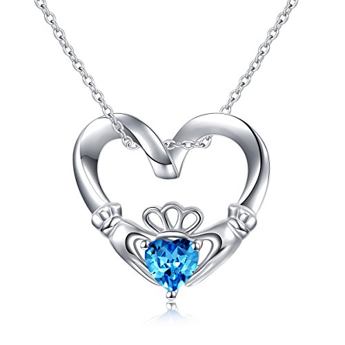 925 Sterling Silver Blue Heart CZ Stone Claddagh Pendant Necklace, 18
