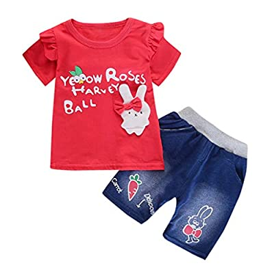 NUWFOR Toddler Baby Girls Short Sleeve Cartoon Rabbit Print Tops+Denim Shorts Outfits