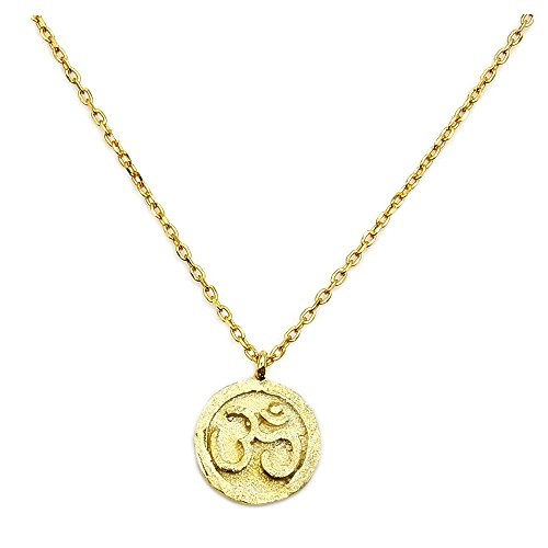 Solid Sterling Silver Gold Vermeil Om (Aum) Symbol Pendant Necklace, Balance and Serenity, Yoga (Religious Vermeil Necklace)