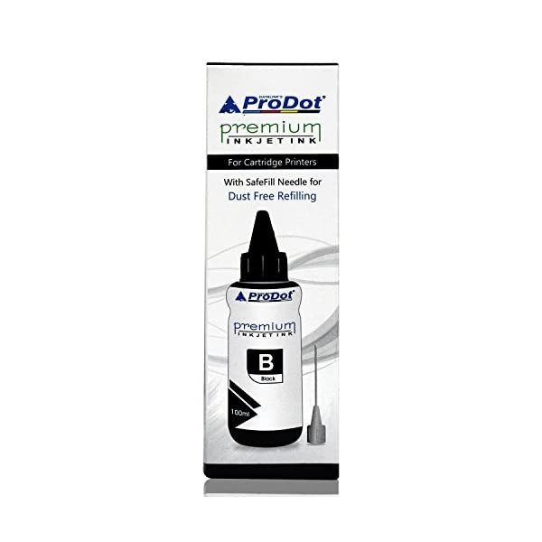 ProDot HP Compatible Refill Ink for Inkjet Cartridge 22/46/57/678/680/703/704/802/803/818 with SafeFill Needle (Black, Pack of 2)