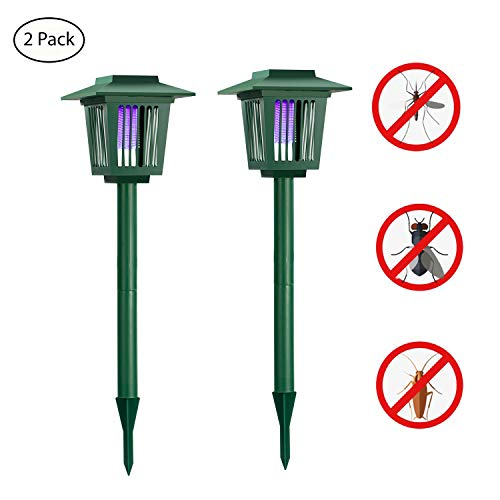 [2 pack] Solar Powered Bug Zapper Lawn Light, Solar Mosquito Killer Insect/Fly/Worm/Mosquitoes/Moths/Flies Killer Electronic Pest Control LED Garden Lamp Light Trap Waterproof for Outdoor Use - Green by HUYHU