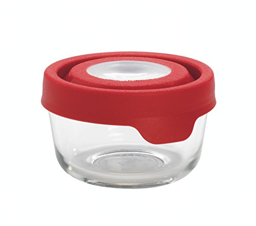 Anchor Hocking TrueSeal Glass Food Storage Container with Airtight Lid, Cherry, 1 Cup