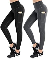 LifeSky Yoga Pants with Pockets, High Waisted Tummy Control Leggings 4 Way Stretch Workout Pants