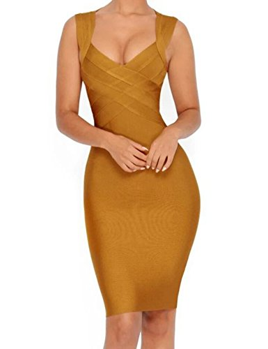 Rayon Party Womens Dress (Whoinshop Rayon Women's V-Neck Cross Front Celebrity Pencil Bandage Dress for Evening Party Ginger S)
