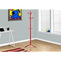 Monarch Wood Contemporary Style Coat Rack, Red, 69'