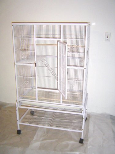 """Mcage Large Wrought Iron 4 Levels Ferret Chinchilla Sugar Glider Small Animal Cage with 1/2"""" Wire Cross Shelves & Ladders with Removable Rolling Stand"""