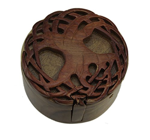 Zeckos Celtic Tree of Life Hand Crafted Wooden Trinket/Puzzle Box