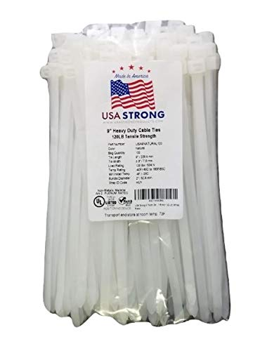 """USA Strong Cable Ties. Premium 9"""" Natural White Nylon Zip Cable Ties. Large 120 Pound Tensile Strength Heavy Duty Industrial Grade. Durable Strong Pliable 
