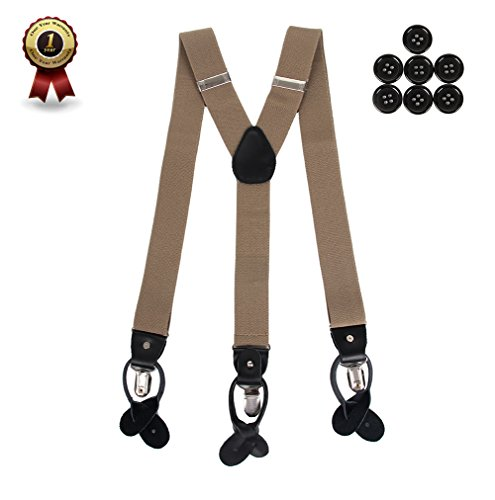 Men's Y Back Suspenders with Strong Clips&Leather Joint& Button End Strap& Heavy Duty(Khaki) (Button Style Clip)