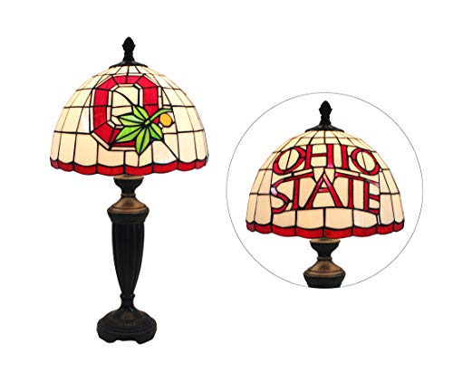 Yogoart Tiffany Style Glass Table Lamp 12-inch NCAA Ohio State Buckeyes Stained Glass Table Lamp 24.8 Inch Height