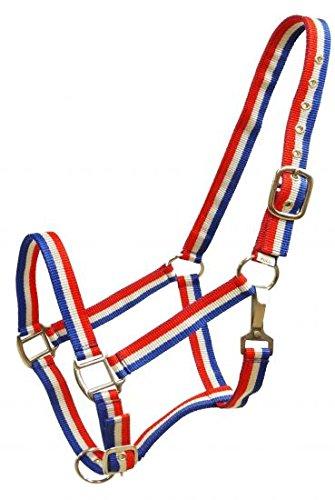 Showman Red White and Blue Striped Nylon Halter