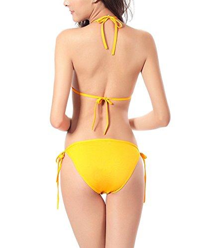 Moollyfox Las Mujeres Empujan Hacia Arriba Del Color Sólido Fija Traje De Baño Bikini Set Amarillo