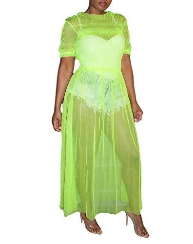 Women Mesh Sheer Dress Short Sleeve Round Neck Ruffle Long Maxi Party Club Dress Bikini Cover up Green (Long Sheer Maxi Dress)