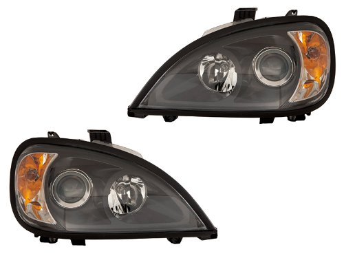 Freightliner Columbia 96 - 11 Projector Black Head Lamp Lights With Bulb - Euro Depo Headlights Black