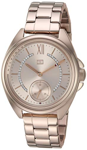 Tommy Hilfiger Women's Quartz Watch with Stainless-Steel Strap, Rose Gold, 16 (Model: 1781989)