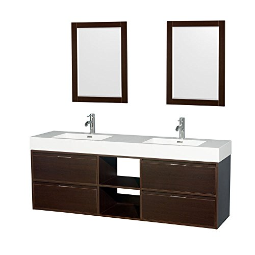 "Wyndham Collection Daniella 72"" Double Bathroom Vanity in Espresso, Acrylic Resin Countertop, Integrated Sinks & 24"" Mirrors"