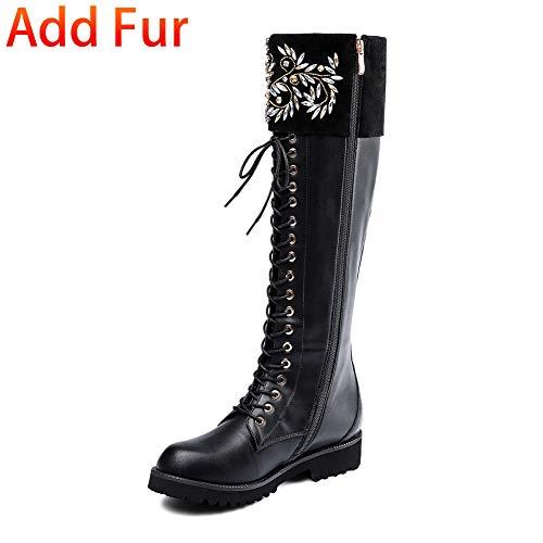 With De Vache Black Taille Automne Cuir Hiver Genoux 2018 Up Grande Femmes Zip Femme Hoesczs 34 43 Bottes Chaussures Aux Fur O08nwPk