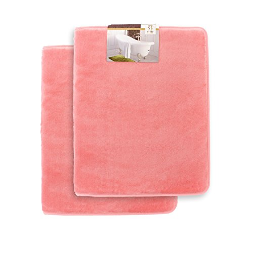 (Memory Foam Bathrug 2 Pack Set - Pink (Coral) - Bath Mat and Shower Rug Small 17