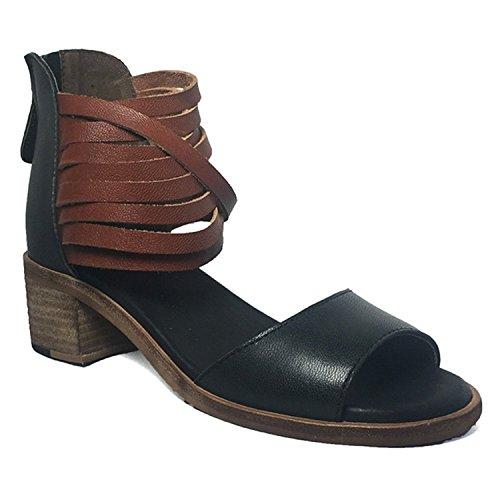 Gee Wawa Footwear Women's Sofia Black/Cognac 9 M