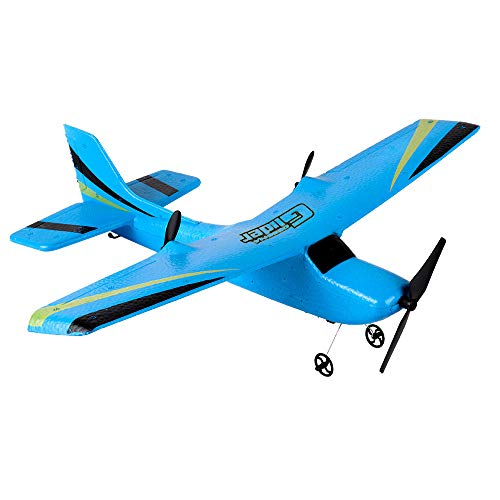 RC Airplane, Micro Indoor RC Airplane, Remote Control RC RTF Glider One Key Start Delta Wing Flying Aircraft 350mm Wingspan (Blue)