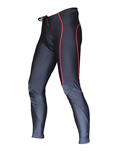 Wellcls Men's Cycling Long Pants 3D Padded Bike Bicycle Wear (Black/Red, Large)