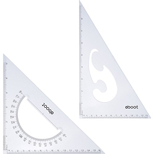 (eBoot Large Triangle Ruler Square Set, 30/60 and 45/90 Degrees, Set of 2)