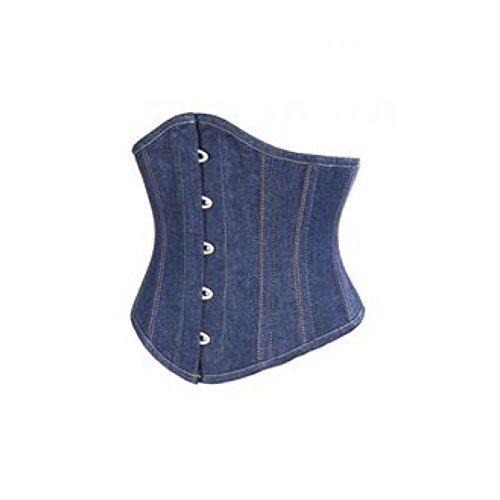 ラブホバー歌Blue Denim Gothic Steampunk Costume Waist Cincher Bustier Underbust Corset Top