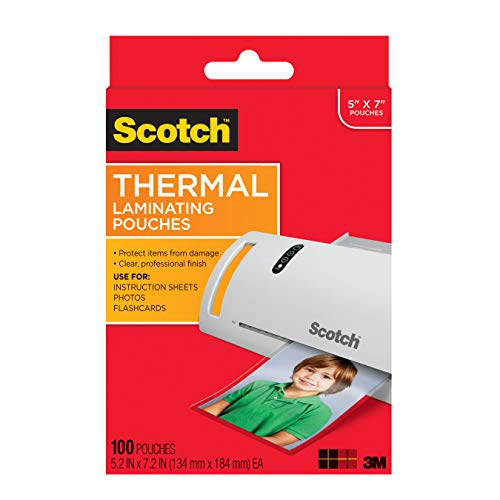 - Scotch Thermal Laminating Pouches, 5 x 7-Inches, Photo Size, 100-Pouches (TP5903-100)