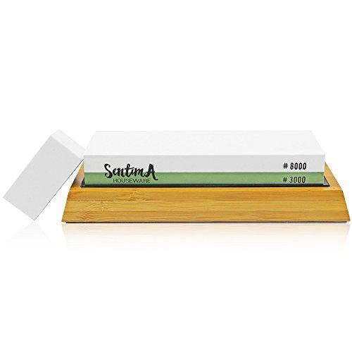 Premium Whetstone Knife Sharpener - 3000/8000 Grit Two Sided Wet Sharpening Stone - Bamboo Base & Flattening Stone by Sentima (Image #4)