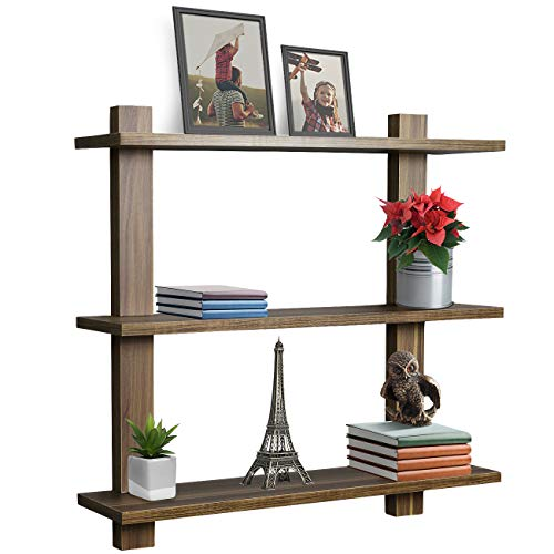 Sorbus Floating Shelf - Asymmetric Square Wall Shelf, Decorative Hanging Display for Trophy, Photo Frames, Collectibles, and Much More, Set of 3 (3-Tier - Walnut)