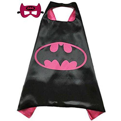 [Superhero or Princess CAPE & MASK SET Kids Childrens Halloween Costume (Hot Pink & Black (Batgirl))] (Batgirl Costumes Set)