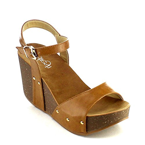Refresh Mara-06 Womens Ankle Strap Platform Wedge Sandals Tan 8