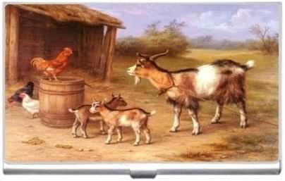 New Goat Farmyard Scene Business Credit Card Holder Case