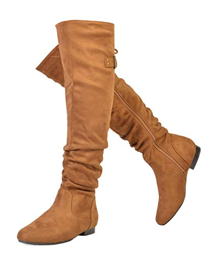 (DREAM PAIRS Women's Colby Tan Over The Knee Pull On Boots - 11 M US)