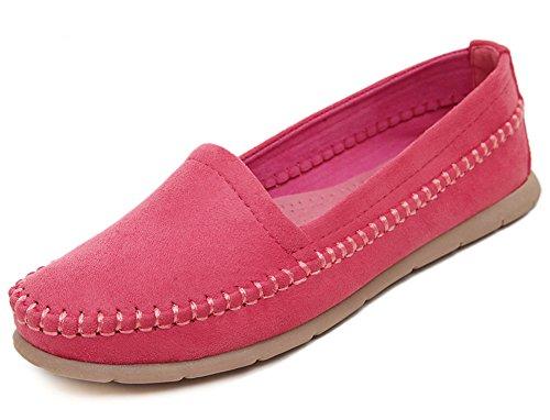 Easemax Femmes Douce Mode Bout Rond Bas Décontracté Slip On Appartements Chaussures Rouge