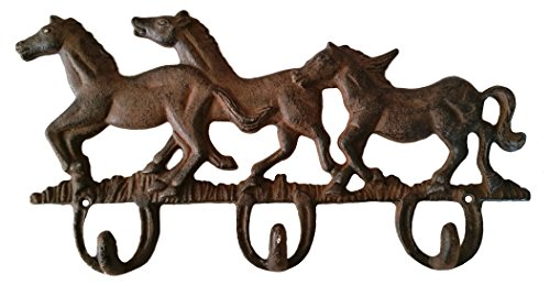 Rustic RUNNING HORSE Cast Iron Decorative Triple Wall Hook