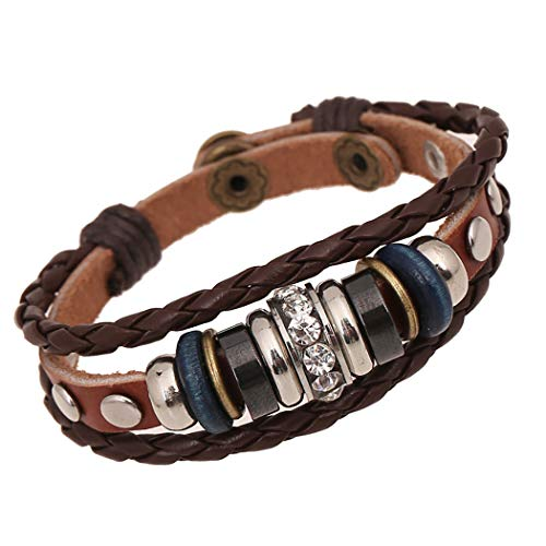 Nurbo Men Women's Unisex Fashion Leather Bracelet Bangles Wrist ()