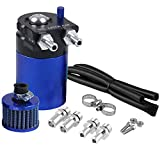 Universal Car Oil Catch Can Kit Reservoir Tank 400ml with Breather Aluminum Compact Dual Cylinder Polish Baffled Engine Air Oil Separator Tank Fit (Blue)