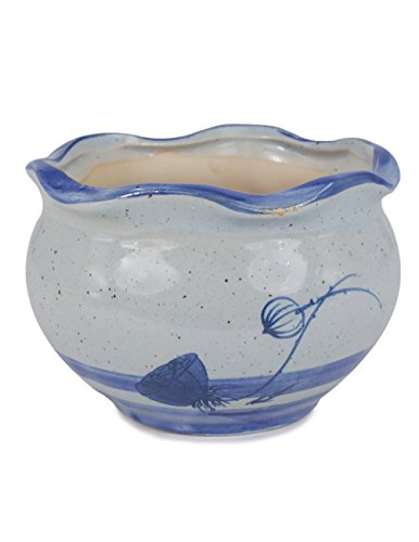 Hand Painted Planter (Dahlia Blue and White Mini Lotus Hand Painted Ceramic Succulent Planter/ Plant Pot/ Flower Pot, #4)