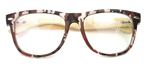 Real Bamboo Wood Temples Eyeglasses Frames Men Women Retro Spectacle Wooden Arm Foot Eyewear (CAMO BE - Eyeglass Frames Camo