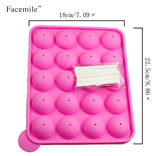 1PCS 20 Hole Silicone Tray Pop Cake Stick Mould Lollipop Party Cupcake Baking Mold Ice Tray Sphere Maker Chocolate Mold