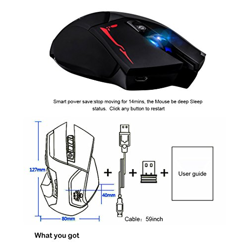 senri isenri rechargeable 2 4g laptop 2 in 1 wireless & wired gaming mouse  optical mice
