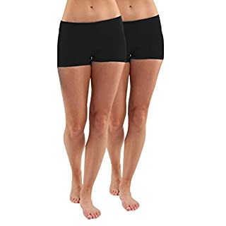 iloveSIA Women's Yoga Shorts Cotton Yoga Shorts Pack of 2 US Size M Black+Black