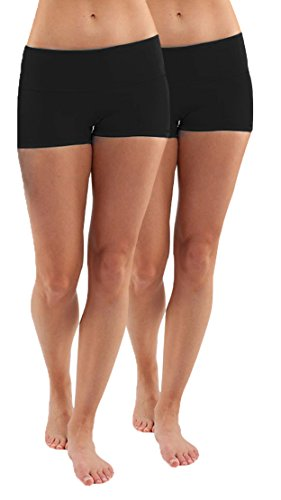Yoga Boy Short (iLoveSIA Women's Yoga Shorts Cotton Yoga Shorts Pack of 2 US Size M Black+Black)